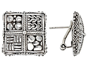 Sterling Silver Square Button Earrings