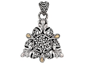Silver And 18k Gold Accent Floral Pendant