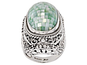 Green Mosaic Mother Of Pearl Silver Ring