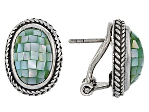 Green Mosaic Mother Of Pearl Silver Earrings