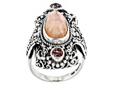 Morganite Color Mother Of Pearl Triplet Silver Ring .60ctw