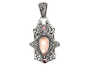 Morganite Color Mother Of Pearl Triplet Silver Pendant .60ctw