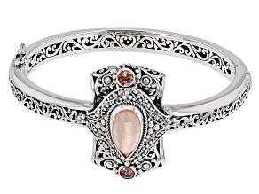 Morganite Color Mother Of Pearl Triplet Silver Bracelet .60ctw
