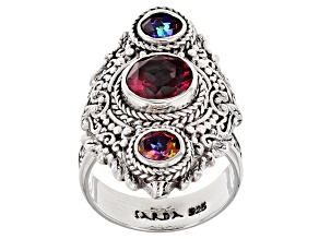 Pink Fast Casual™ Mystic Quartz® Silver Ring 2.60ctw