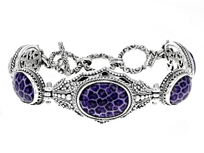 Purple Indonesian Coral Silver Bracelet