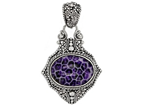 Purple Indonesian Coral Silver Pendant