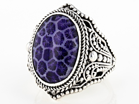 Purple Indonesian Coral Silver Ring