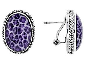 Purple Coral Silver Earrings