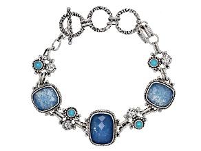 Blue Quartz Doublet Silver Bracelet