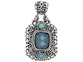 Blue Quartz Doublet Silver Pendant