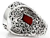 Red Indonesian Coral Silver Ring