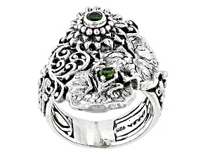 Green Chrome Diopside Silver Ring .34ctw