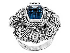 London Blue Topaz Silver Ring 3.40ctw