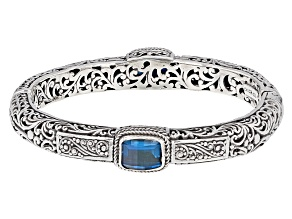London Blue Topaz Silver Filigree Bangle 6.80ctw