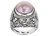 Pink Cultured Mabe Pearl Sterling Silver With 18k Gold Accent Ring