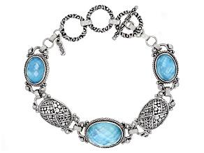 Blue Paraiba Color Quartz Triplet Silver Bracelet