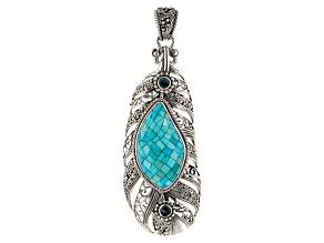 Blue Mosaic Turquoise Silver Pendant .52ctw