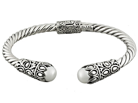 White Cultured Freshwater Pearl Silver Hinged Bangle Cable Bracelet