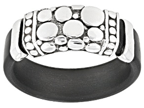 Sterling Silver And Rubber Ring