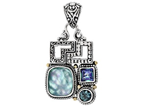 Green Onyx Triplet Silver And 18k Gold Accent Pendant 2.24ctw