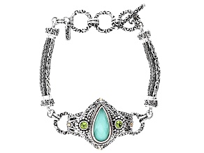 Mint Chrysoprase Doublet Silver & 18kt Gold Bracelet .56ctw