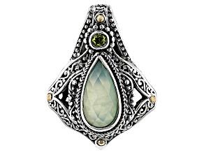 Mint Chrysoprase Doublet Silver & 18kt Gold Pendant .28ctw