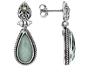 Mint Chrysoprase Doublet Silver And 18k Gold Accent Earrings