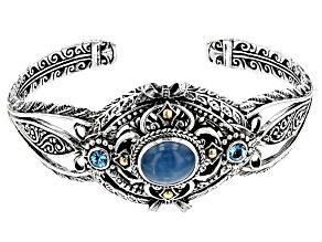 Blue Milky Aquamarine Silver & 18kt Gold Cuff .60ctw