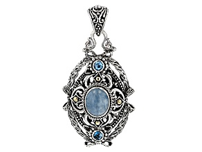 Blue Milky Aquamarine Silver & 18kt Gold Pendant .60ctw