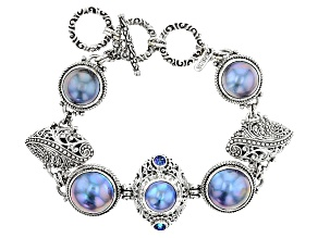 Peacock Gray Mabe Pearl Silver Bracelet .62ctw