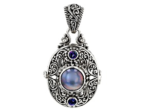 Peacock Gray Mabe Pearl Silver Locket Pendant .62ctw