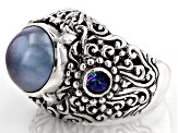 Peacock Grey Mabe Pearl Silver Ring .62ctw