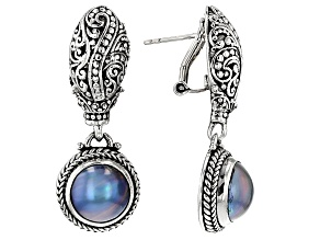 Peacock Gray Mabe Pearl Silver Earrings