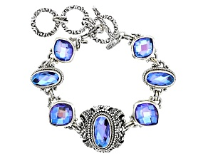 Rainbow Tanzanite Color Quartz Triplet Silver Bracelet