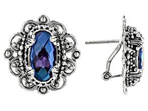 Rainbow Tanzanite Color Quartz Triplet Silver Earrings