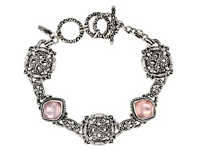 Morganite Color Quartz Triplet Silver Bracelet