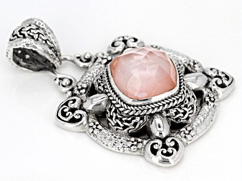 Morganite Color Quartz Triplet Silver Pendant