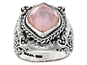 Morganite Color Quartz Triplet Silver Solitaire Ring