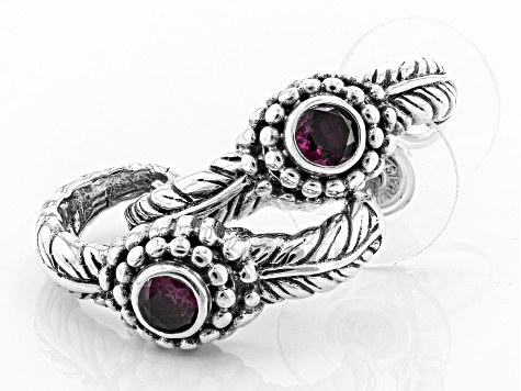 Purple Rhodolite Silver Earrings .60ctw