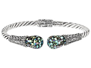 Multicolor Mosaic Abalone Shell Sterling Silver Bracelet