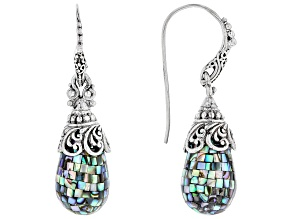 Multicolor Mosaic Abalone Shell Sterling Silver Earrings