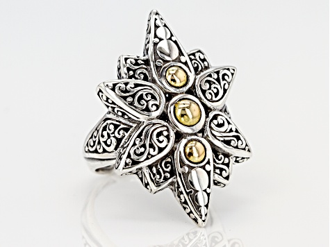 Sterling Silver And 18k Gold Star Ring