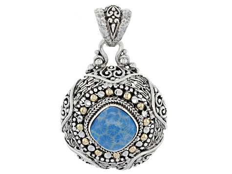 Baby Blue Indonesian Coral Silver And 18k Gold Pendant