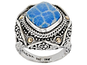 Baby Blue Indonesian Coral Silver And 18k Gold Ring