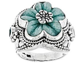Blue Quartzite Silver Flower Ring 0.60ctw