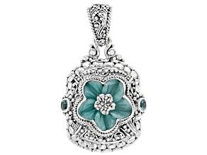 Blue Quartzite Silver Flower Pendant .60ctw
