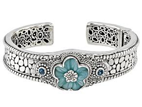 Blue Quartzite Silver Flower Bracelet .60ctw