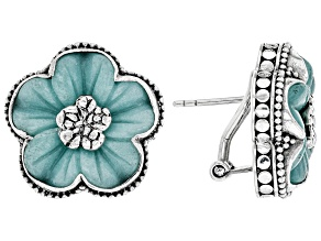 Blue Quartzite Sterling Silver Flower Earrings