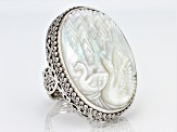 White Mother Of Pearl Silver Swan Ring