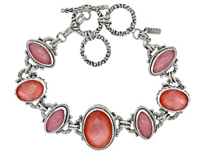 Melon Color Mother Of Pearl Triplet Silver Bracelet
